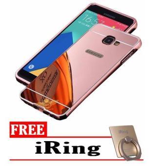 Case Metal for Samsung Galaxy J5 Prime Aluminium Bumper With Mirror Backdoor Slide - Rose Gold