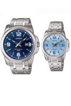 Casio Couple Watch Jam Tangan Couple - Silver - Strap Stainless Steel - 1314D