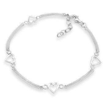 Elli Germany 925 Silver Gelang Hearts Silver