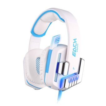 Wired USB Virtual 7.1 Surround Sound Gaming Headphones Vibration Function & Glaring LED Light with Mic(White) - Intl