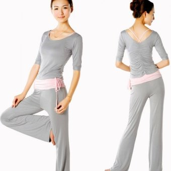 Modal Spring Middle-length Sleeve Yoga Clothing Suit Size M (Pink + Gray) (Intl)