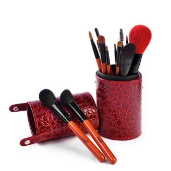 MSQ New Professional 16 Pcs Cosmetics Makeup Brush Set With Cup Holder(Red) - INTL