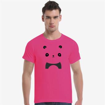 Cute Panda Cotton Soft Men Short T-Shirt (Rose) - Intl