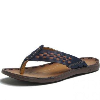 YINGLUNQISHI Men Flip Flops Beach Sandals Home Slippers(DeepBlue) - Intl