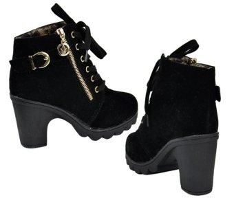 Women Retro Buckle High Heel Lace Up Platform Martin Black Blue Pumps Boots