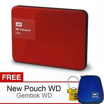 Western Digital My Passport Ultra New 2TB Merah Bonus Pouch WD Bonus Gembok WD