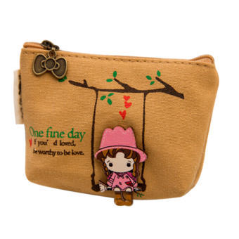 Women Mini Canvas Swing Girl Coin Bag Wallet Pouch Card Purse Zip Key Holder NEW Yellow (Intl)