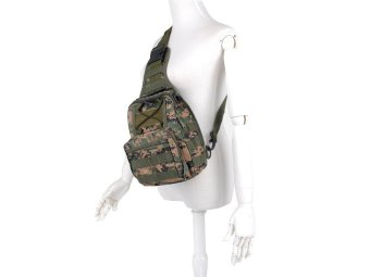 Camouflage Outdoor Sport Messenger Bag Nylon Hunting Tactical Shoulder Bag (Camouflage Green) - Intl