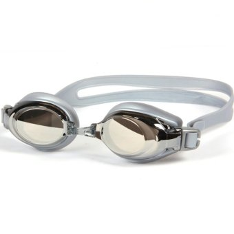 Unisex Plating Anti-fog Myopia Swimming Goggles(Silver) (Intl)