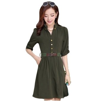 2016 New Style Summer Dress Large Size Solid Color V-neck Shirt Office Wear Dress Send Belt Army Green (Intl)