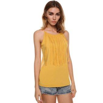 Cyber New Women's Sexy Spaghetti Strap Tassel Sleeveless Blouse Loose Vest Tank Top (Intl)