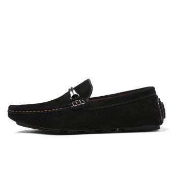 YLQS Leather Men's Flat Shoes Casual Loafers LX-8028(Black) (Intl)