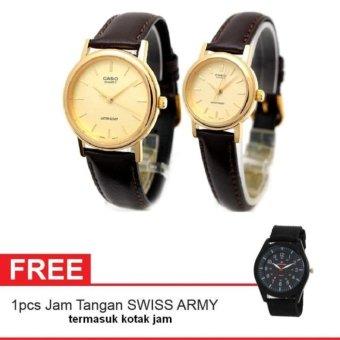 harga Casio Couple Watch Jam Tangan Couple - Darkbrown Gold - Strap Leather - Casual Watch - 1095Q-9A + Gratis Swiss Army Canvas Band termasuk kotak jam Lazada.co.id