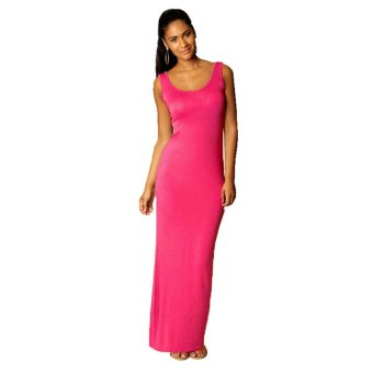 LCFU764 Elegant and sexy cotton vest dress fashion in Europe and America nightclubs skirt-pink - Intl