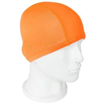 2pcs Unisex Adult Kid Swimming Hat Beach Cloth Fabric Caps Hat Solid Pattern(Orange)(Export) - INTL