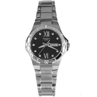 jam tangan Casio Jam Tangan Wanita Sheen SHE-4022D-1ADR - Silver Hitam terpercaya