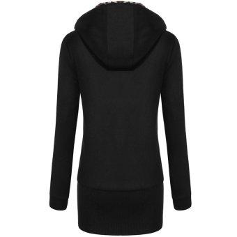 SuperCart Meaneor Women Hooded Fleece Leopard Pattern Zip Long Outwear Hooded Jacket ( Black ) - Intl