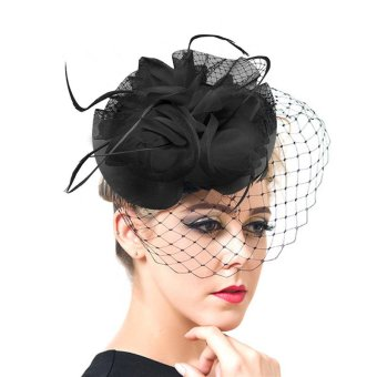 U7 Western Style Veil Feather Women Hair Accessories Fascinator Hat Cocktail Party Wedding Headwear Lady Hair Clips (Black) - INTL