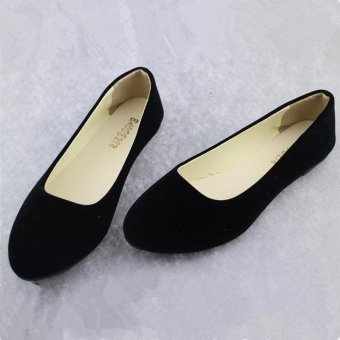 LALANG Fashion Soft Shoes Women Flat Shoes Round Toe Daily Casual Shoes Black - Intl (Intl)