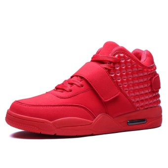 JustCreat Men's Lace-Up Sports Shoes Breathable Casual Sneakers(Red) - Intl