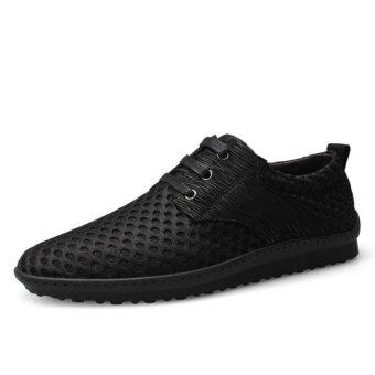 YINGLUNQISHI Men's Fashion Casual Mesh Sneakers Low Cut Shoes(Black) - Intl