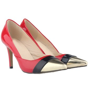 Women's Mid High Heels Pointed Toe Stiletto Pumps(Red) (Intl)