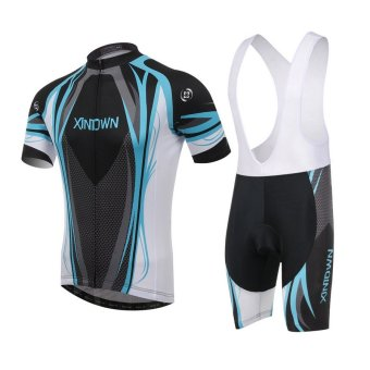 XINTOWN Man's MTB Cycling Jersey Outdoor Sportswear Short Sleeve Strap Multicolor Breathable Wicking Clothes QFST-00056 Blue/Black - Intl