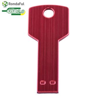 Rondaful Red USB Flash Drive Metal Key USB Stick 64GB Pen Drive Thumb Storage Memory U Disk - Intl (Intl)