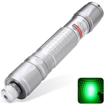 Durable 5mW 532nm 18650 Green Starry Laser Pointer Pen with Keychain (SILVER) (Intl)