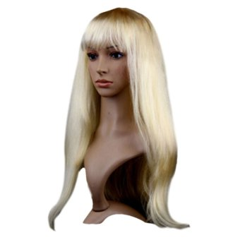 Women Long Straight Wigs Hair Cosplay Party Wigs Stylish Light Blonde