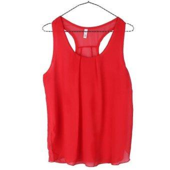 WANGSCANIS Women Crewneck Sleeveless Casual Loose Chiffon Tank Top Shirt - INTL