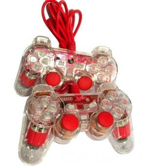 K-One Gamepad Double Stik USB High Quality – Merah Transparant