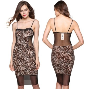 Sexy Lace Leopard Patchwork Back Perspective Slim Spaghetti Strap Dress(Black) - Intl