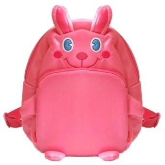 Cute Bunny Kids Cartoon Animal Kindergarten School PU Backpack (Pink) (Intl)
