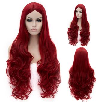 Cosplay Wig Wine Red Euramerican Style Long Curly Hair Wig (Intl)
