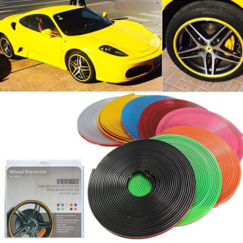 Car Vehicle Wheel Rim Protector Tire Guard Line Rubber Moulding 8M Multicolor Bo Green - Intl