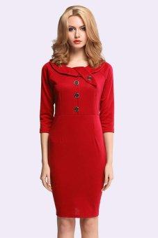 Azone Women OL Work Wear Office Dresses Three-quarter Sleeve Slim Fitting Bodycon Pencil Dress ( Red ) (Intl)