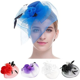 Women Lady Girls Bridal Feather Net and Veil Fascinator Hair Clip Derby Headpiece(Red) (Intl)