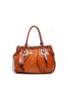 Luxury Genuine Cowhide Leather Shoulder Bag (Brown)- Intl
