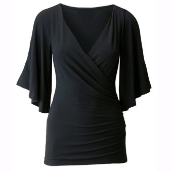 Sunweb Stylish Women's Fashion Half Sleeve V-Neck Sexy Backless Slim T-Shirt Blouse(Black)- Intl