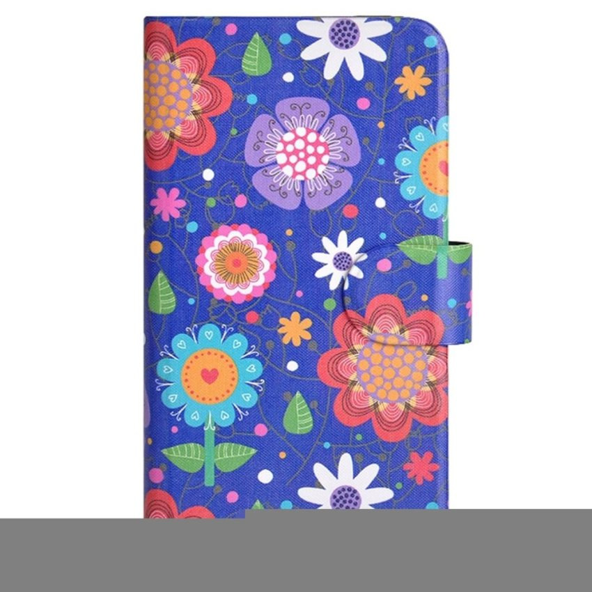 Colorful Flower Drawing Design Card Slot Magnetic PU Leather Flip Case Cover Compatible For HTC Windows Phone 8S A620E A620D