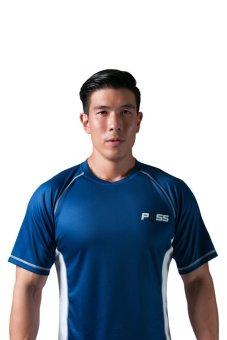 POSS Men's Fitted Dry Fit Shirt- Blue/White- Intl