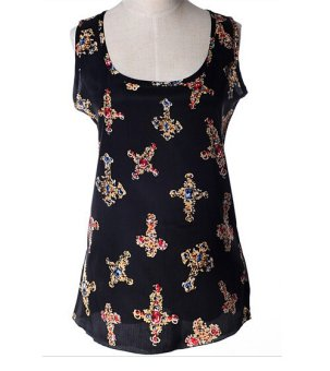 Lady Chiffon Vest Top Tank Sleeveless Shirt Blouse with Cross (Black) - Intl