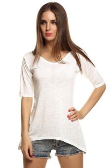 Azone Summer Women Casual O-Neck Half Sleeve Solid Slim Irregular Hem Blouse Tops(White) - Intl