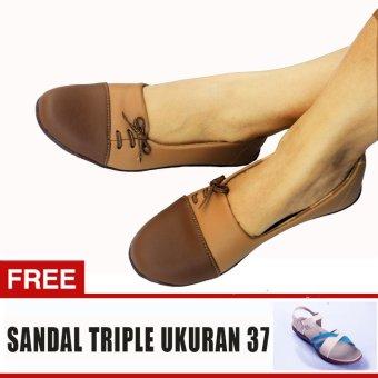 Yutaka Sepatu Wanita N33 Coklat + Gratis Sepatu Triple Ukuran 37