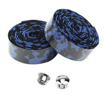 Fancytoy 1 Pair Bike Cork Handlebar Tape Bicycle Bar Wrap Ribbon with 2 Bar Plugs (Black&Blue) - INTL