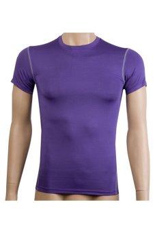 Men's Outdoor Vest Short T-Shirt Sports Training Wear (Purple)