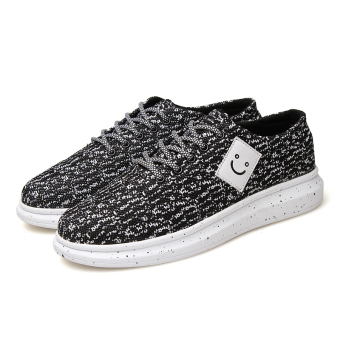 Men's woven casual smiley fly higher tide shoes (black) - Intl