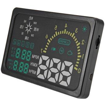 6 inch Car HUD Head Up Display Windscreen Projector Vehicle OBD II Speed Warning Fuel Consumption Car Driving Data Diagnosis (Black) - Intl