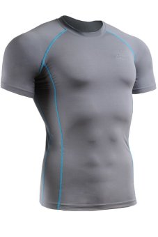 Emfraa Sports Baselayers Top Compression Skin Tight Training Running Shirts Grey/Sky Blue (EXPORT)